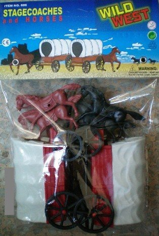 Western Wagon (Wild West Stagecoaches (2) w/4 Horses Playset (Bagged) 1/32 Playsets)