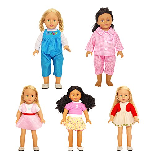 5-Sets Unique 16 18 Inch Doll Clothes & Bitty Baby Dolls Cute Party Dresses Pajamas Overalls Outfits by Festar