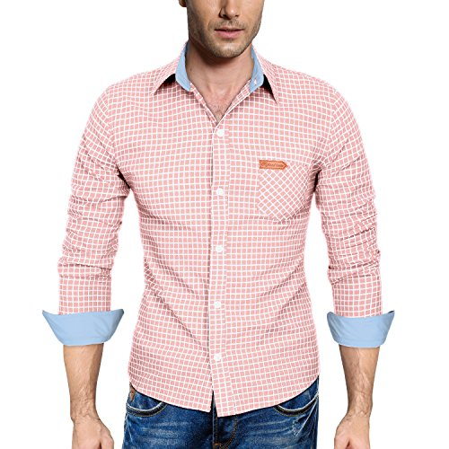 HEMOON Mens Checker Shirts Plaid Long Sleeve Trim Fit Pink Large