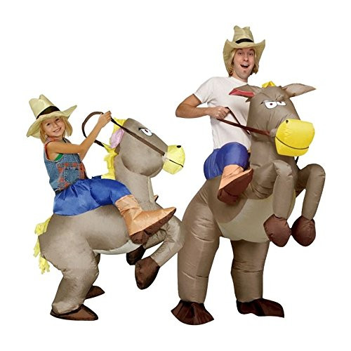 Inflatable Cowboy Ride On Horse Costume Fancy Party Cosplay (S (Kid)) (Wild Zebra Adult Womens Costume)