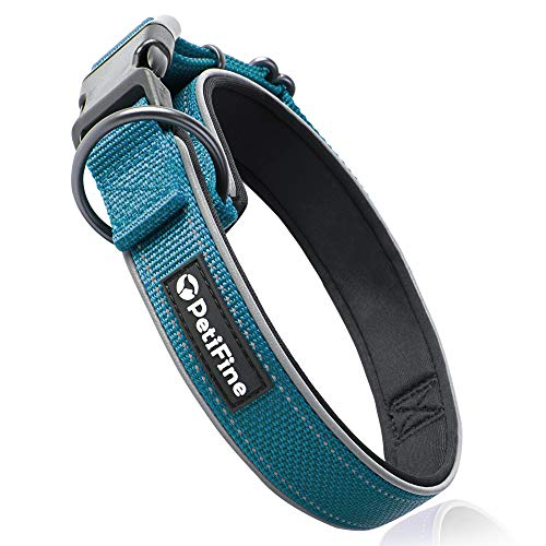 PetiFine Reflective Dog Collar with Ultra Soft Neoprene Padded, Adjustable Nylon Pet Collar for Small Medium Large X-Large Dogs(M, Blue)