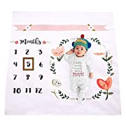 Newborn Baby Unicorn Milestone Blanket Photography Background Prop Monthly Growth Photo Bedding Wrap Swaddle Stroller Mat (Unicorn) (Multi)