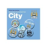 Football Gifts - Manchester City Fc Gift Ideas - Official Manchester City Fc Button Badge Set - A Great Present For Football Fans