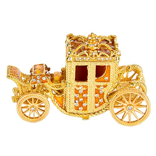 QIFU-Hand Painted Enameled Royal Carriage Style Decorative Hinged Jewelry Trinket Box Unique Gift For Home Decor