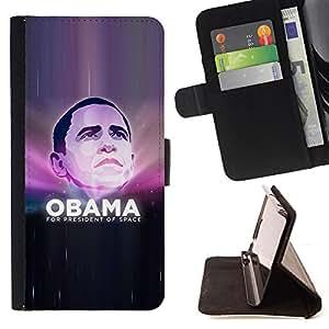 BullDog Case - FOR/Samsung Galaxy S4 Mini i9190 / - / obama president space universe funny /- Monedero de cuero de la PU Llevar cubierta de la caja con el ID Credit Card Slots Flip funda de cuer