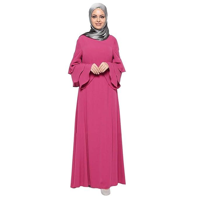 9e99e50adb Amazon.com  Muslim Dress Dubai Kaftan Women Long Sleeve Abaya Islamic  Clothing Girls Arabic Caftan Jalabiya Kaftan Evening Dress  Clothing