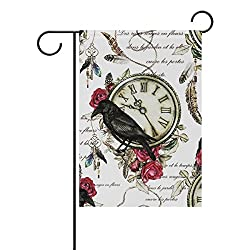 YZGO Black Crow Red Rose And Vintage Clock Feather Garden Flag Home Polyester Fabric Mildew Resistant Welcome House Yard Banner,12x18 Inch