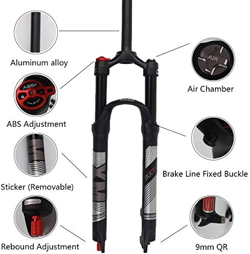 MTB Air Fork 120mm Travel Ultralight Gas Shock Absorbers Disc Brake fit Road//Mountain Bicycle XC//AM//FR Cycling BUCKLOS 【US Stock】 26 27.5 29 inch Mountain Bike Fork Rebound Adjust