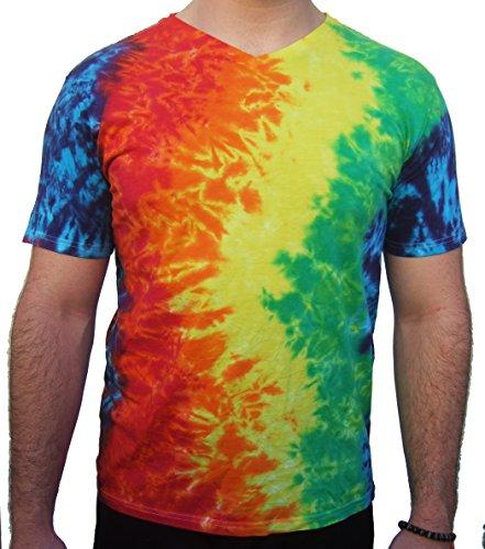 - Rockin' Cactus Men's V-Neck Lightweight Tie Dye T-Shirt-Rainbow Crinkle-L