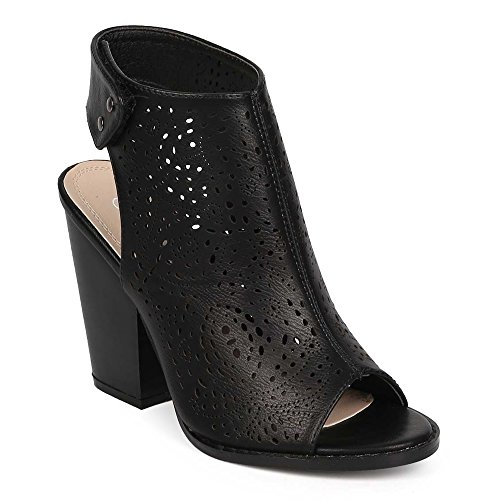 Open Toe Leather Bootie - Z. Emma Women's Open Toe Perforated Faux Leather Chunky Stacked Heel Pump Sandals Summer Cutout Booties WR03 Black 10