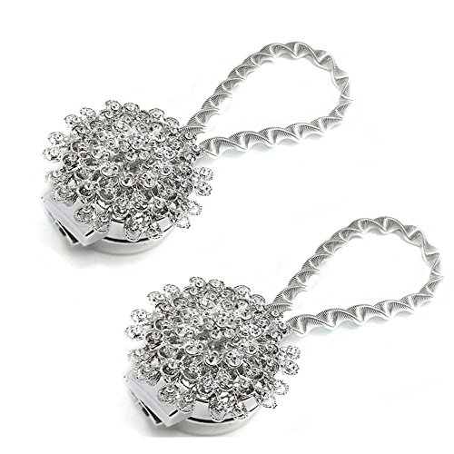 Syclecircle 2 Pack Magnetic Curtain Tie Backs, Decorative Crystal Curtain Holdbacks for Bedroom, Living Room, Office (Peacock Silver, 2 Pack) - Magnetic Crystal