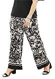 roamans pants - Roamans Women's Plus Size Wide Leg Pants Border Black White Print,1X