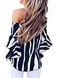 Nuker Womens Striped Off Shoulder Bell Sleeve Shirt Tie Knot Casual Blouses Tops