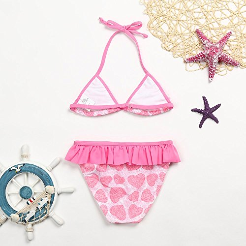 pezzi Kid Nuoto Baby anni Outfit Heart Set Ondulato da Due Halter Costumi Costume bagno Mutandine Print Floral Sling Lamination Vest Rosa Frills da Amlaiworld 8 Girl Bikini 4 bagno gBOnw0S