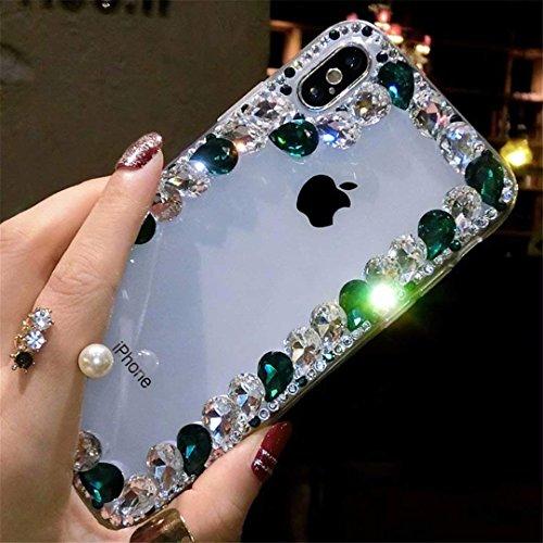 Alcatel Fierce 4 Case,Alcatel Allura Case,Alcatel Pop 4 Plus Crystal Diamond Case, 3D Handmade Luxury Sparkle Crystal Rhinestone Diamond Glitter Bling Clear TPU Case (Border/Blue)