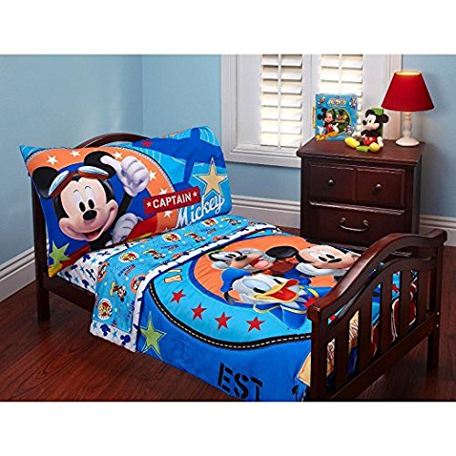 Baby Mickey Mouse Toddler Bed Set Comforter Top Sheet Fitted Sheet Pillow Case 4 Piece Kids Bedding Set (Mickey Toddler Bed Mouse Sheets)