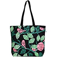 "EcoRight Reusable 100% Cotton Canvas EcoFriendly Large Tote Bag Printed""Sparrows"""