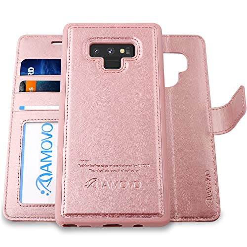 AMOVO Case for Galaxy Note 9 [2 in 1] Samsung Galaxy Note 9 Wallet Case [Detachable] [Wrist Strap] [Card Slot] [Kickstand] Note 9 Flip Case with Gift Box Package (Note 9, Rosegold)