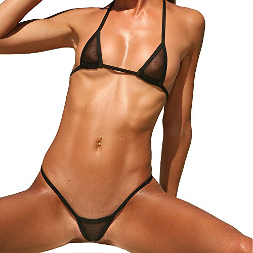 Esquki Women's Sheer Micro Bikini Halterneck Top and G String Sets (Black)