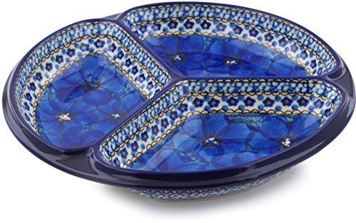 - Polish Pottery 10-inch Divided Dish made by Ceramika Artystyczna (Cobalt Poppies Theme) Signature UNIKAT + Certificate of Authenticity