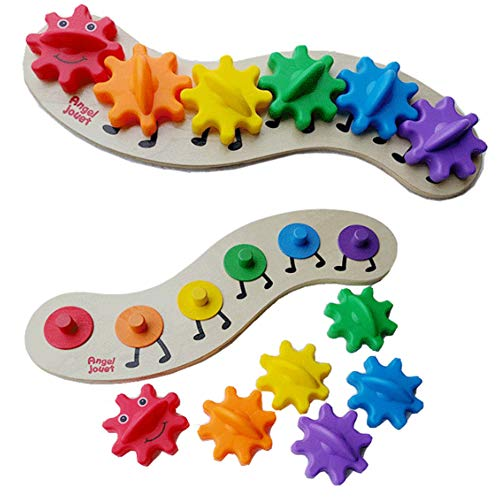 bromrefulgenc 6 Color Caterpillar Puzzle Board, DIY Interchangeable Gears Wooden Intelligent Kids Toy