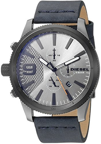 Diesel Men's 'Rasp Chrono 46' Quartz Stainless Steel and Leather Casual Watch, Color:Blue (Model: DZ4456) (Diesel Leather Strap Watch)