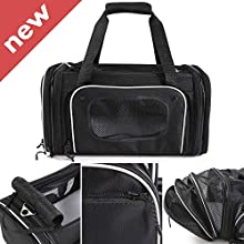 Smiling Paws Pets 4-Way Expandable Airline Approved Soft Sided Pet Carrier, Pet Travel TSA Carrier Bag for Cats, Puppy & Small Animals, Collapsible Kennel, Airplane, Car & Train Travel, 17x11x9 L/W/H