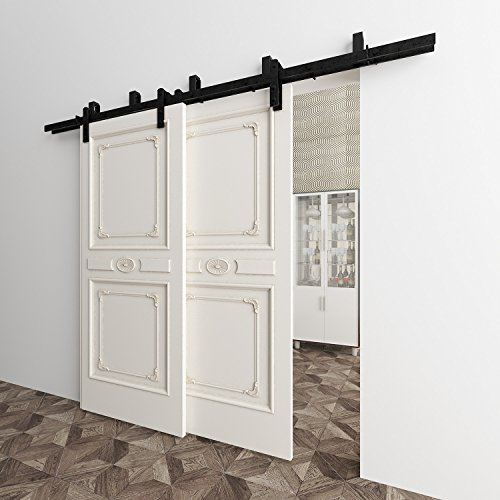Vancleef 8FT Bypass Door Kit Sliding Barn Door Hardware, Straight Design, New Style U-Bracket, Black Rustic, Interior and Exterior, With Quiet Glide Roller and Descriptive Installation - Hinge York