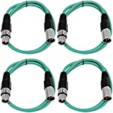 SEISMIC AUDIO - SAXLX-2-4 Pack of 2' XLR Male to XLR Female Patch Cables - Balanced - 2 Foot Patch Cord - Green and Green