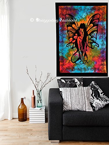Exclusive New Butter Fly Angel Decorative Poster Hand Tie Dye Wall Hanging Indian Cotton Living Room Tapestry Wall Decor By Bhagyoday Fashions