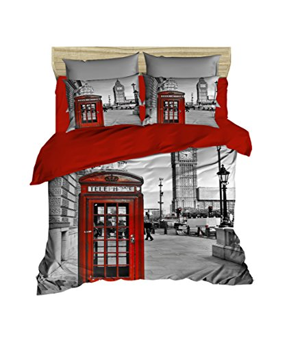 - DecoMood 3D London Bedding Big Ben Telephone Box Themed Full/Queen Size Duvet Cover Set Made in Turkey (4 Pcs)