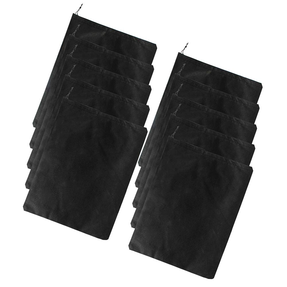 Diossad 10 piezas Bolsas de Zapatos Multifunción a Prueba de Polvo para Viajes Organizador Ahorro de Espacio Transpirable Negro