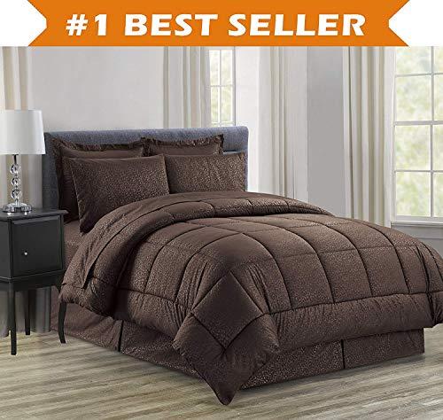 - Luxury Bed-in-a-Bag Comforter Set on Amazon! Elegant Comfort Wrinkle Resistant - Silky Soft Beautiful Design Complete Bed-in-a-Bag 8-Piece Comforter Set -Hypoallergenic- Full/Queen, Chocolate