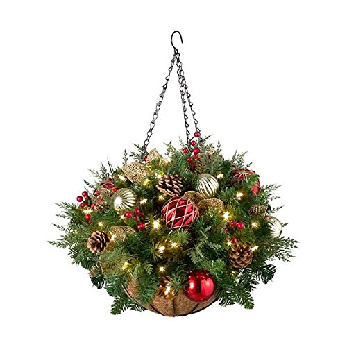 Pre-Lit Hanging Basket Christmas Decoration Featuring Ornaments, Pinecones And Faux Berries Pre Lit Cone