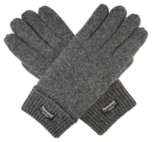 Bruceriver Men's Pure Wool Knitted Gloves with Thinsulate Lining Size L/XL (Grey)