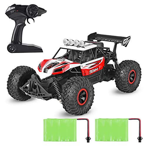 Geburun Red Remote Control Car – Newest 2.4 Ghz High Speed RC Car 1/16 Scale Off Road RC Truck with Two Rechargeable Batteries, High Speed Monster Truck Racing Toy Car for Adults & Kids