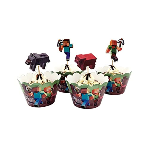 MINECRAFT 24 Packs Pixel CUPCAKE Topper Set