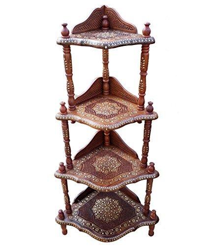 Craftatoz Wooden 4 Shelf Corner Rack with Fine Jali Copper Brass Work
