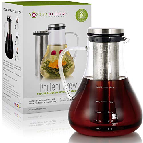 Teabloom All-Brew Beverage Maker – Large Stovetop Safe Glass Teapot/Pitcher (50 OZ / 1.5L) – Precision Tea, Cold Brew Coffee, and Fruit Infused Water System – 2 Free Blooming Teas Included
