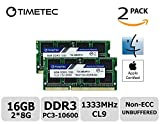 Timetec Hynix IC Apple 16GB Kit (2x8GB) DDR3 1333MHz PC3-10600 SODIMM Memory Upgrade For MacBook Pro 13-inch /15-inch /17-inch Early/Late 2011, iMac 21.5-inch Mid/Late 2011(16GB Kit (2x8GB))