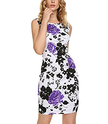 Finejo Women's Floral Print Sleeveless Split Cocktail Party Bodycon Dress
