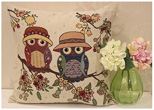 Athena Throw Pillow (Amtop Cotton Linen Square Decorative Throw Pillow Case Pillowcase Cushion Cover with Hidden Zipper Closure, Cute Cartoon Owl 18
