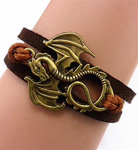 Price comparison product image ACUNION™ Handmade Dragon Daenerys Targaryen - Game of Thrones Charm for Friendship Gift - Fashion Personalized Leather Bracelet
