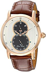 Lucien Piccard Men's 'Infinity' Quartz Stainless Steel and Leather Automatic Watch, Color:Brown (Model: LP-40044-RG-02S)