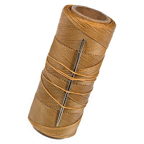 (270 Feet of Waxed Polyester Sail Twine and Needle - Ideal for Rope Whipping, Canvas Work, Sail Making, or Other Crafting Applications (Brown))