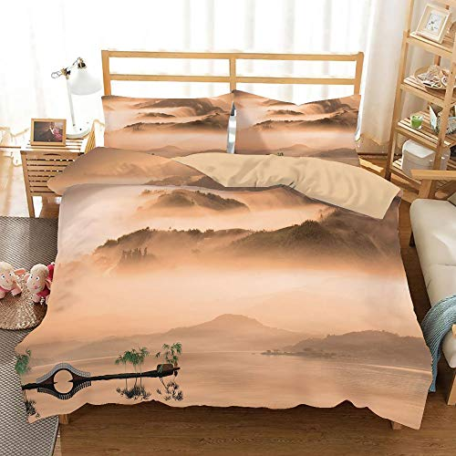 (Art Khaki Duvet Cover Set Twin/Twin XL Size,Chinese Lake Landscape before Majestic Foggy Mountains in Mist Clouds Dramatic Hill View Decorative,Decorative 3 Piece Bedding Set with 2 Pillow Shams,Peach)