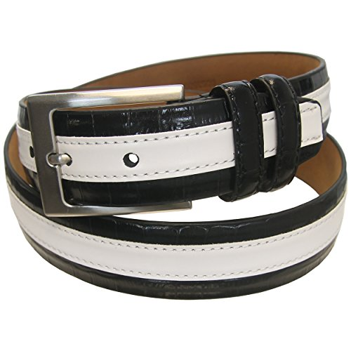 PGA TOUR Leather Striped Golf Belt Men's - 001 BLACK - SIZE ()
