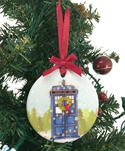 Amazoncom Doctor Who Tardis Porcelain Christmas Holiday Ornament