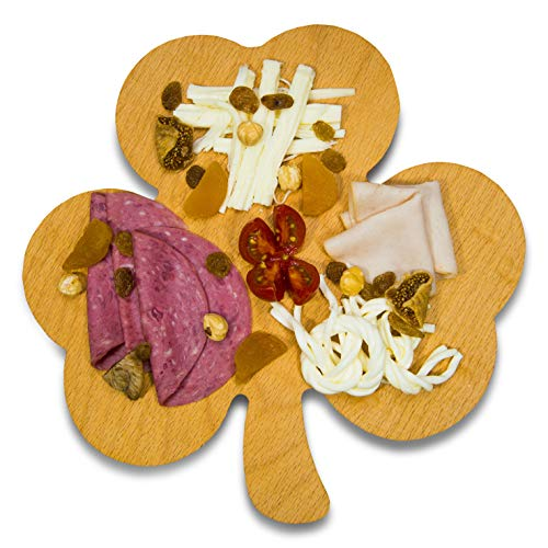 Shamrock, Clover Shaped Wooden Serving Plate   Appetizer, Snack, Cheese Platter   Organic, Decorative Serveware   Home, Kitchen Accessory   For Kids, Birthday Party, Gift Idea ()