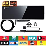 ANTOP 50 Mile HD 1080P TV Antenna Built-in 4G LTE Filter, Multi-Direction Digital Indoor Antenna with Smartpass Amplified, AM/FM Reception Band, 10ft Cable, Piano Black